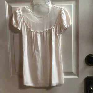 💕new Eli Tahari silk creamy white blouse Sz S